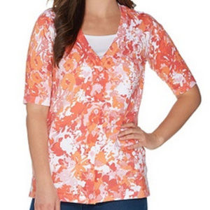 Floral Print Elbow Sleeve V-Neck Button Front Card
